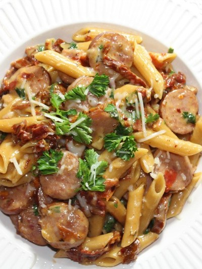 One Pot Smoked Sausage & Sun-Dried Tomato Pasta