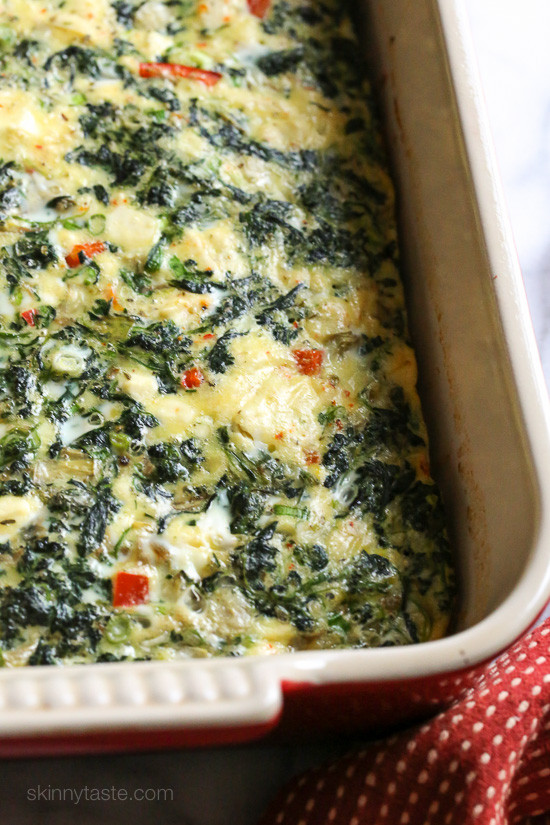 Spinach Artichoke Feta Breakfast Bake