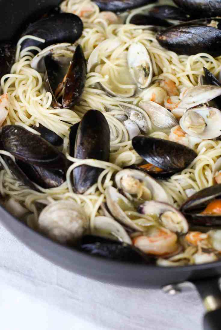 Seafood Pasta with White Wine Butter Sauce
