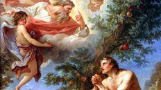 Dios y Adán en el paraíso
