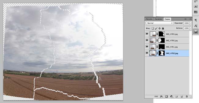 Detalle de las capas por separado que forman la panorámica