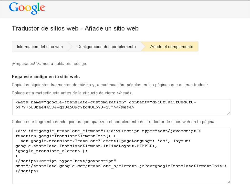 Google translate web gu a para instalar en webs o blogs for Configurar cocina online