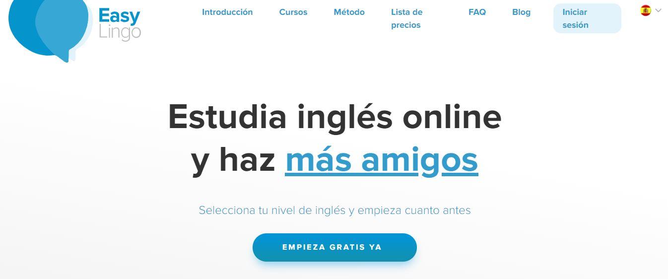 captura de pantalla de la plataforma de cursos de inglés EasyLingo