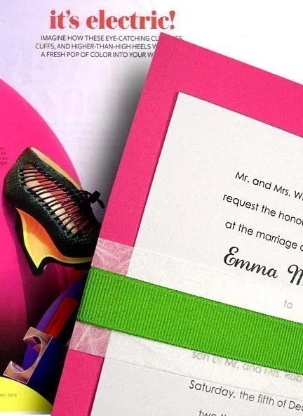 Fresh Berry Pink Wedding Invitations With Unryu And Apple Green Bands 98