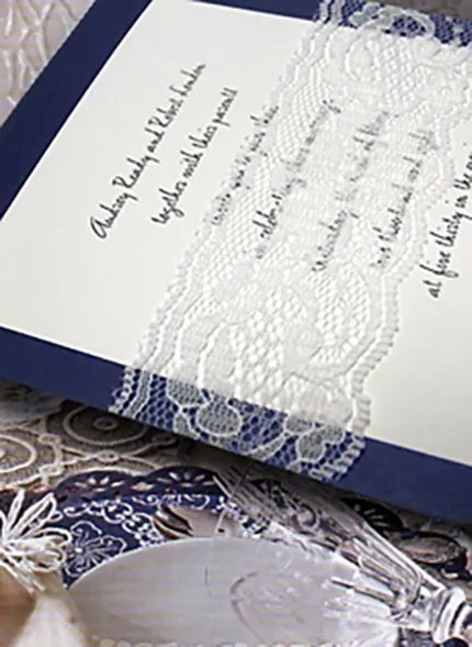 Navy and White Wedding Invitations with Lace
