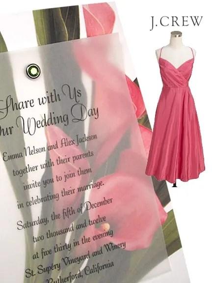 Chic Calla Lily Wedding Invitations with Crystal Brad