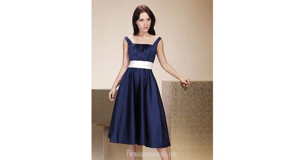 Tea-length Satin Bridesmaid Dress Dark Navy Plus Sizes