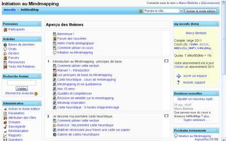 plateforme d'e-learning Moodle accessible après la formation mindmapping au loft