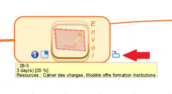 Illustration d'un hyperlien renvoyant d'une carte secondaire vers une carte principale dans Mindmaple