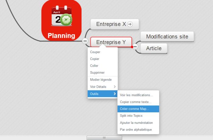 MindMeister : affichage du menu Outils et Créer comme map