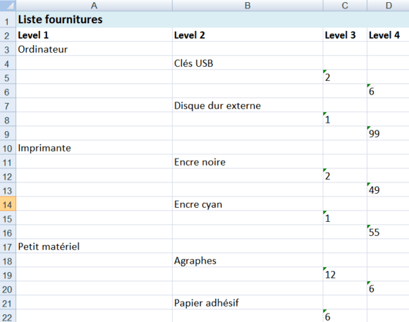 Mode d'exportation outline de XMind 2013 vers le tableur Microsoft Excel