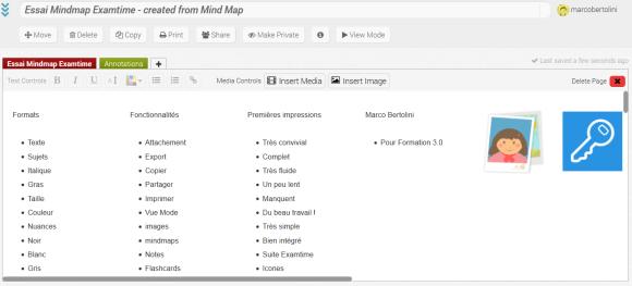 Note Examtime résultant de la conversion de la mindmap réalisée avec la suite gratuite en ligne