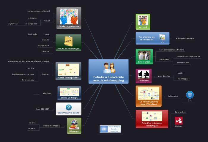 Carte mentale Mindomo illustrant le programme de la formation de mindmapping destinée aux étudiants de l'enseignement supérieur et de l'université