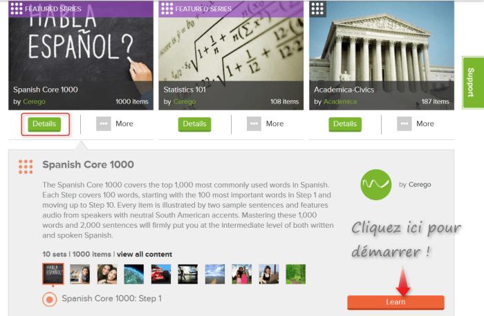 Description complète de la série Apprendre l'espagnol sur l'application de flashcards Cerego