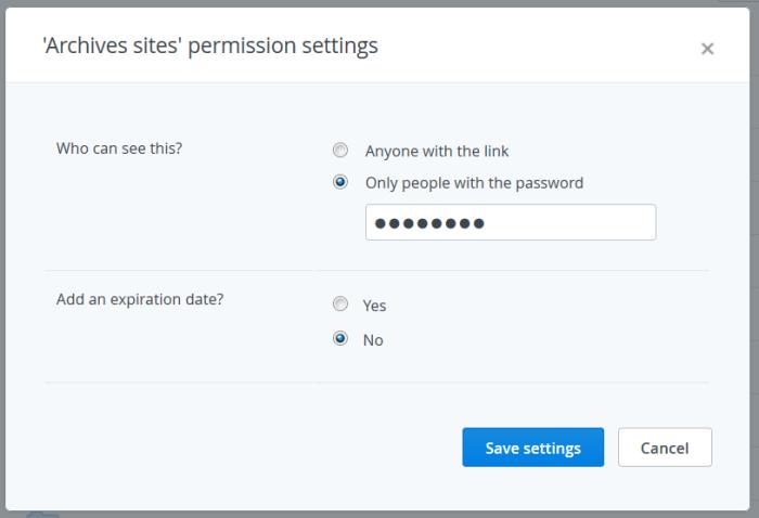 Protection d'un lien partagé par un mot de passe dans Dropbox Pro