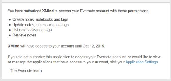 e-mail de confirmation que vous autorisez bien xmind 6 a se servir de votre compte evernote