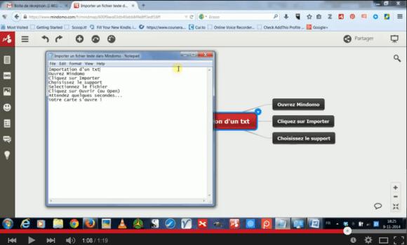 Importation d'un texte au format txt (blocnotes de windows) dans une mindmap Mindomo