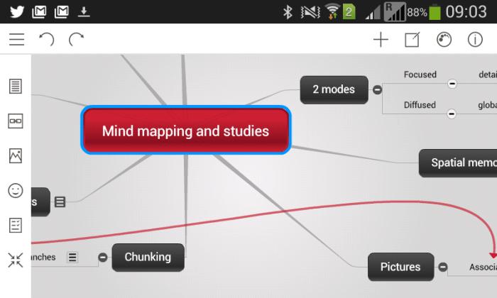 Interface de la nouvelle appli mobile android et apple de Mindomo