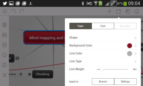 Menu Couleurs et branches de la nouvelle appli Android et Apple de Mindomo