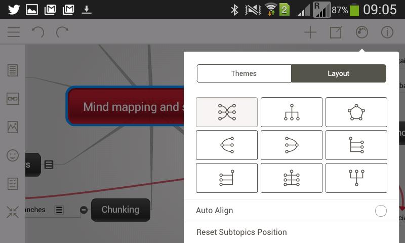 Menu de structures de l'application mobile gratuite Mindomo
