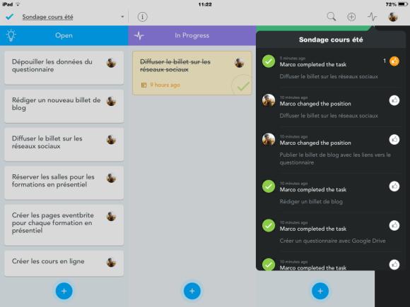 Meistertask : visualisation des modifications apportées au projet dans le tableau collaboratif