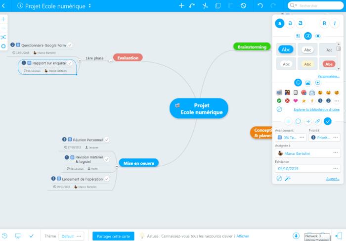 Gestion de projet avec Mindmeister et Meistertask : mindmap de départ gdpar