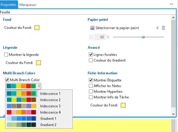 Nouvelle option de palettes de couleurs multibranches dans le logiciel de mindmapping XMind version beta 7.5