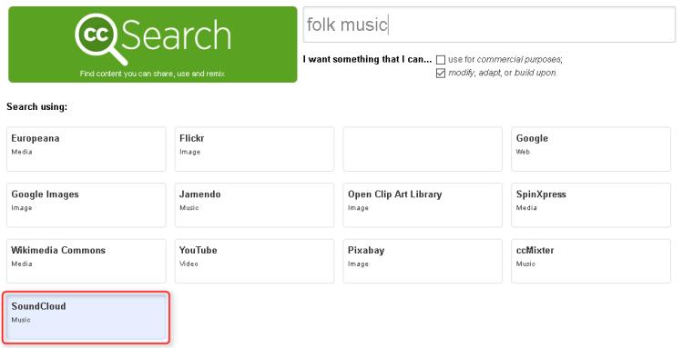 Recherche de musique libre de droit sur SoundCloud avec CC Search