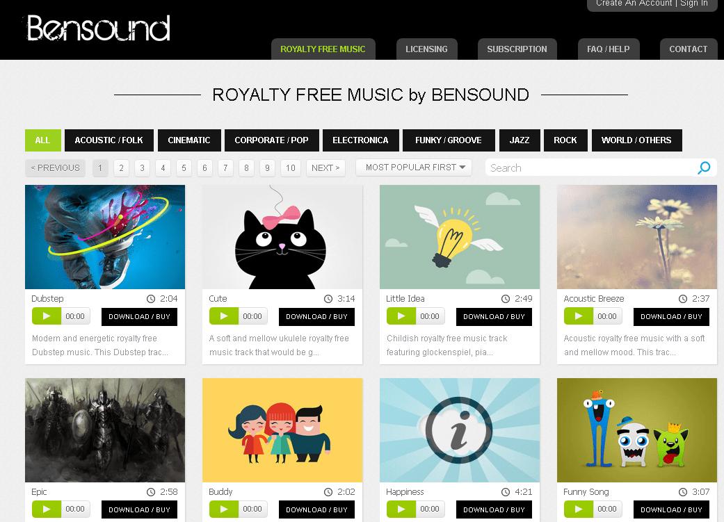 Bensound, un site de musiques gratuites et libres de droits pour vos vidéos