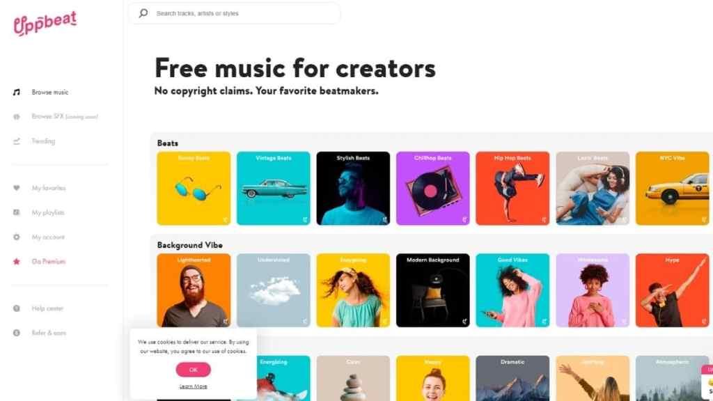 Uppbeat - plateforme de téléchargement de musique gratuite