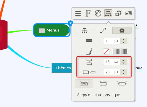 Mindomo propose un nouveau menu pour régler l'espacement des branches de votre mindmap