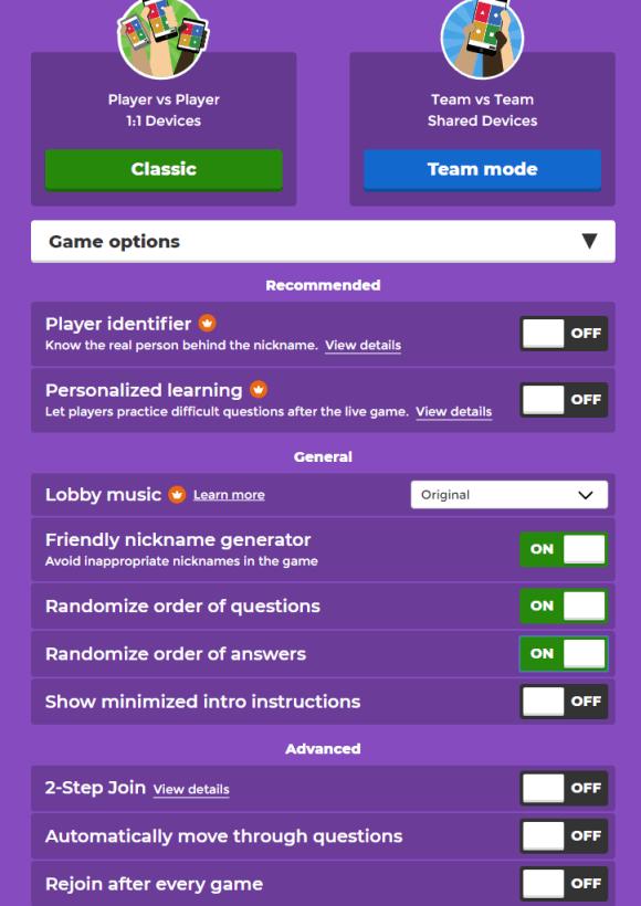 Capture d'écran de la page de paramétrage d'un jeu sur Kahoot