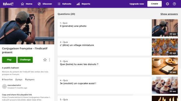 Kahoot : page d'accueil d'un test de conjugaison française sur l'indicatif présent