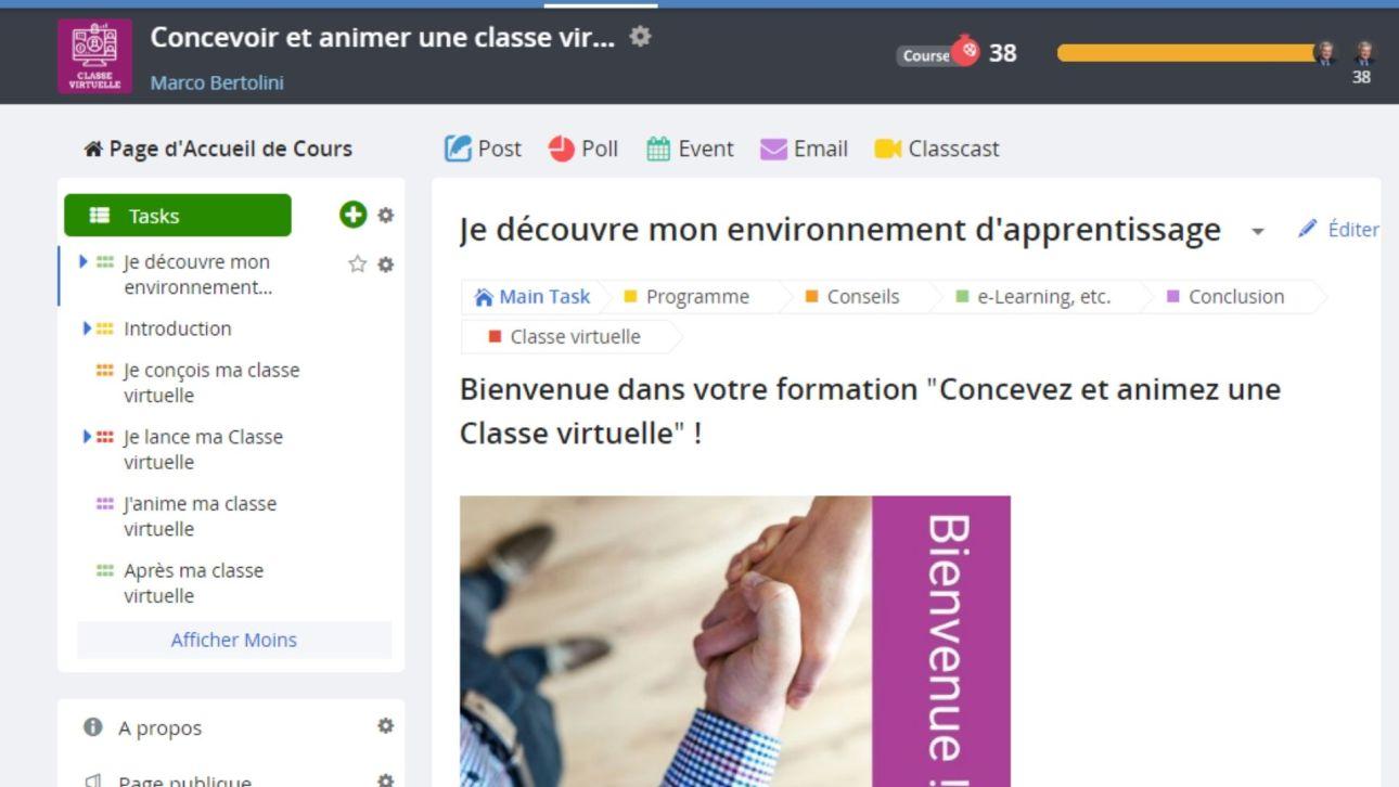 Formation à la classe virtuelle : environnement d'apprentissage The Course Networking