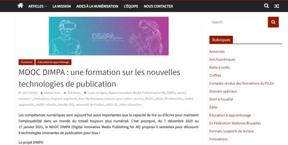 Le MOOC DIMPA sur Lettres numériques - la revue en ligne de la Communauté française de Belgique
