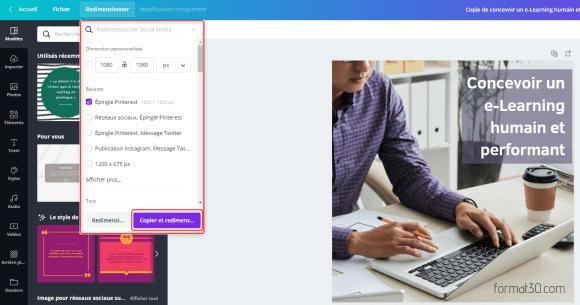 Publier sur les réseaux sociaux - redimensionnez votre visuel avec Canva for Work