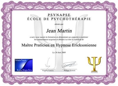 Maître Praticien en Hypnose Ericksonienne