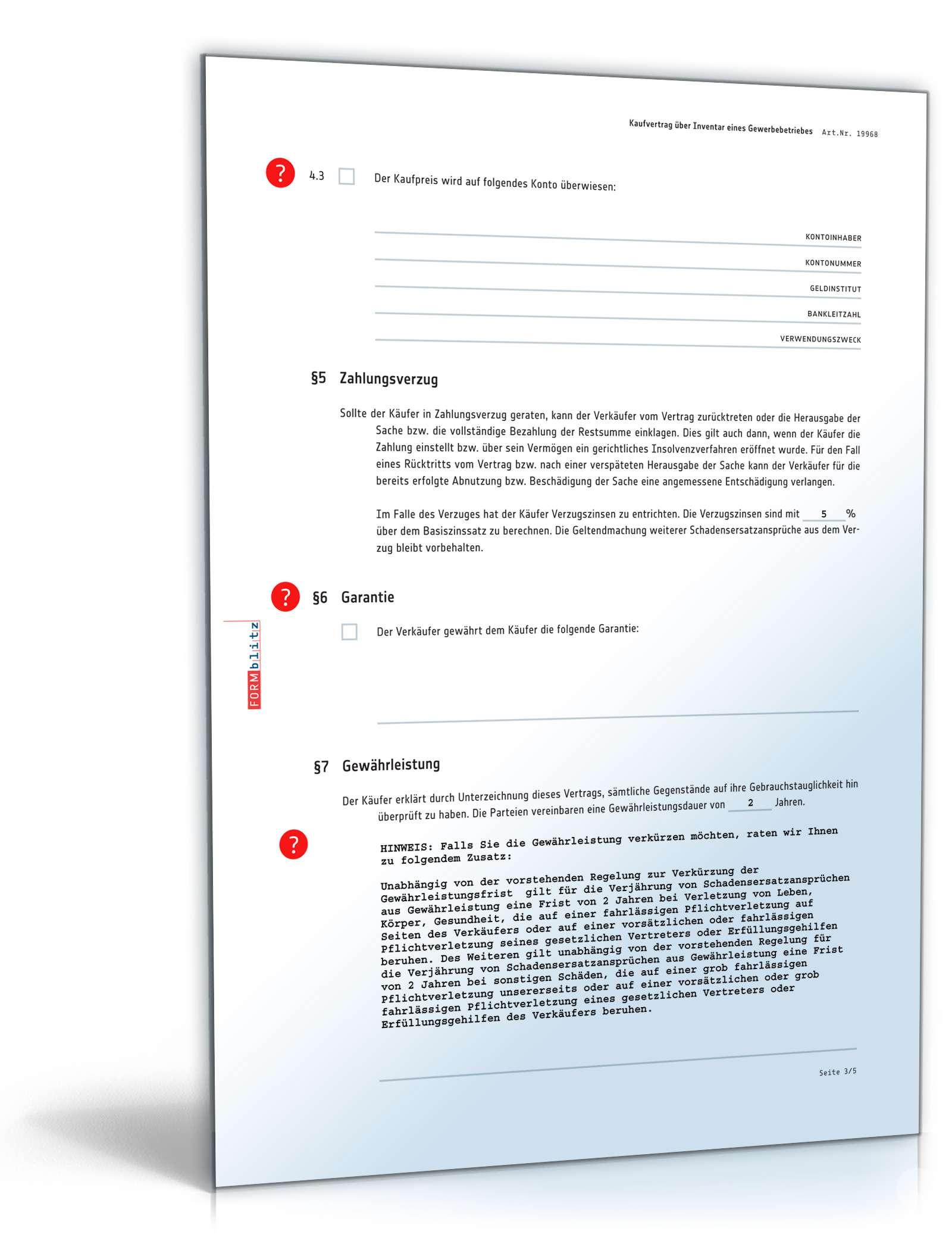 Kaufvertrag Einbauküche Muster Kaufvertrag Inventar Muster