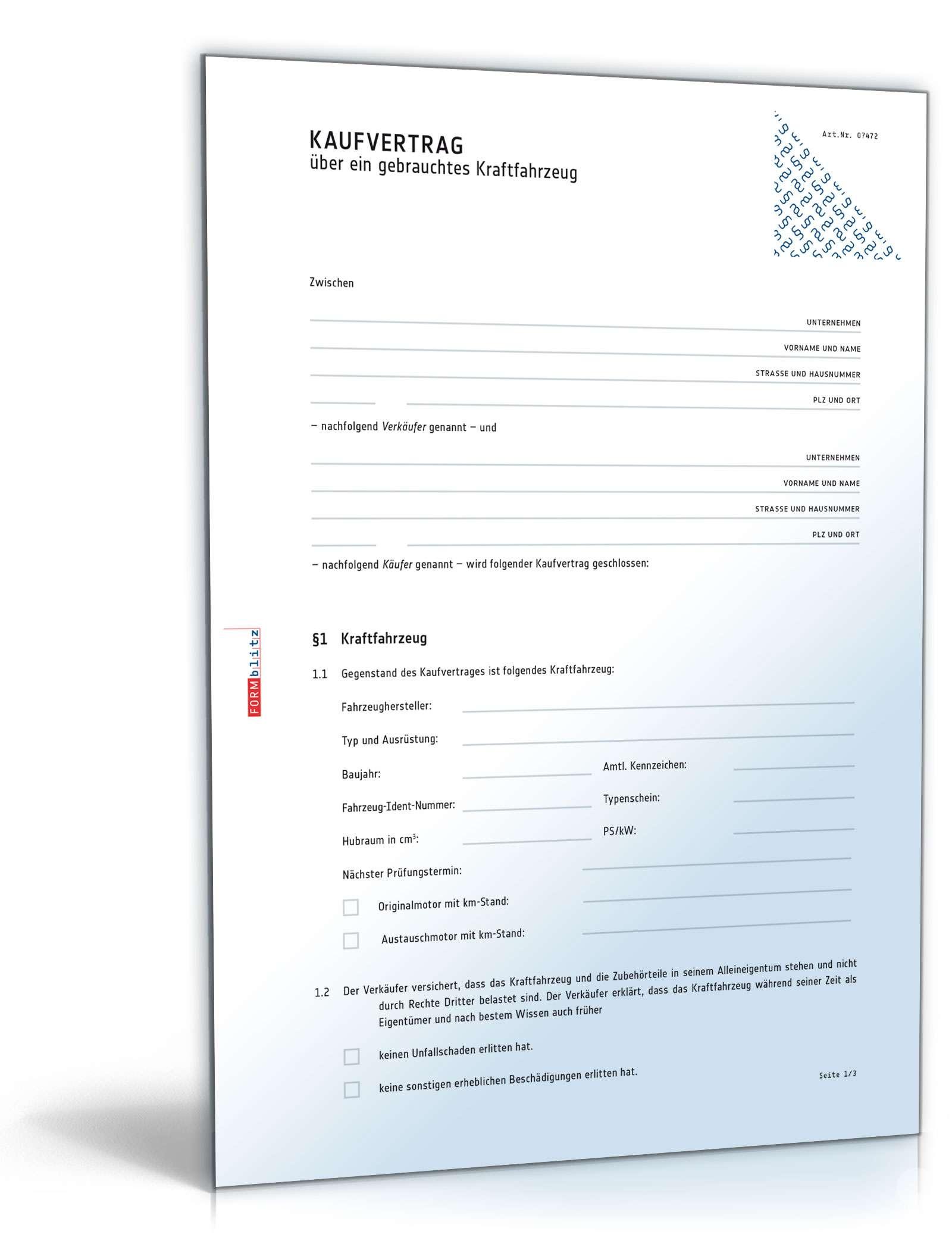 Kaufvertrag Küche Vorlage Word Vordruck Kfz Kaufvertrag