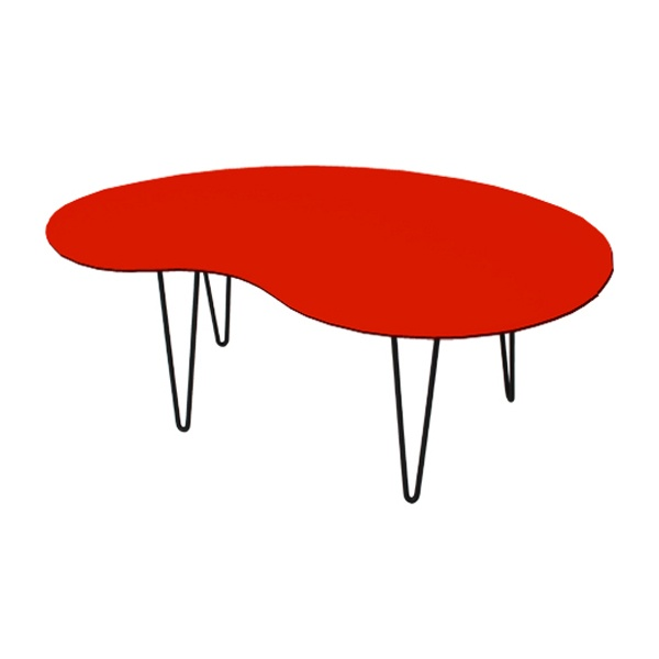 kidney shaped coffee table orange for