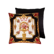 Black and Gold Silk Pillow