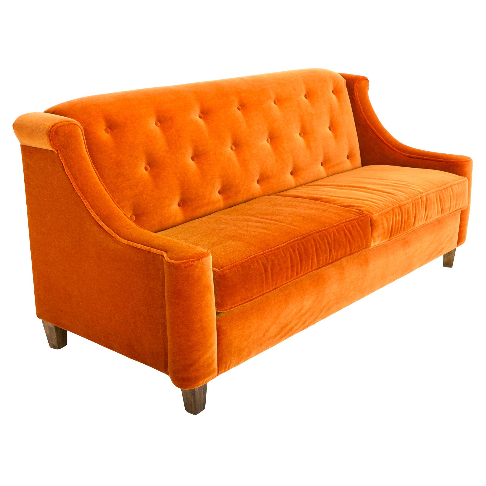 rental sofa dunbar vintage orange rentals event furniture formdecor
