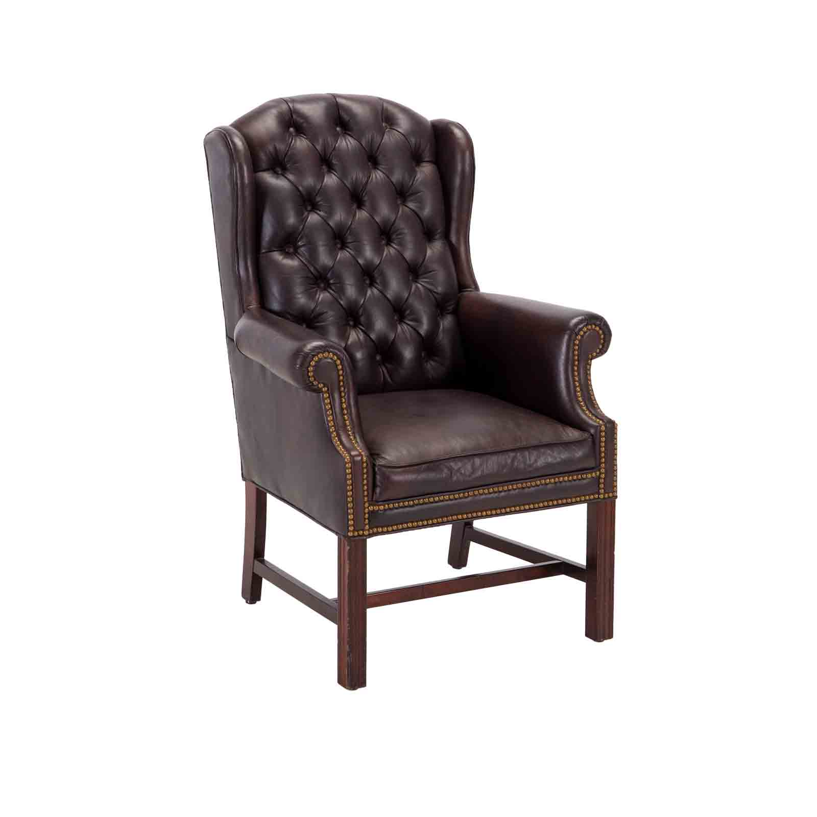 Wingback Tufted Chair Wingback Tufted Lounge Chair Brown Event Trade Show Furniture