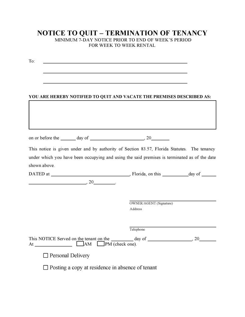 Landlord Notice To Vacate Letter Florida Poemdocor - Free legal forms florida