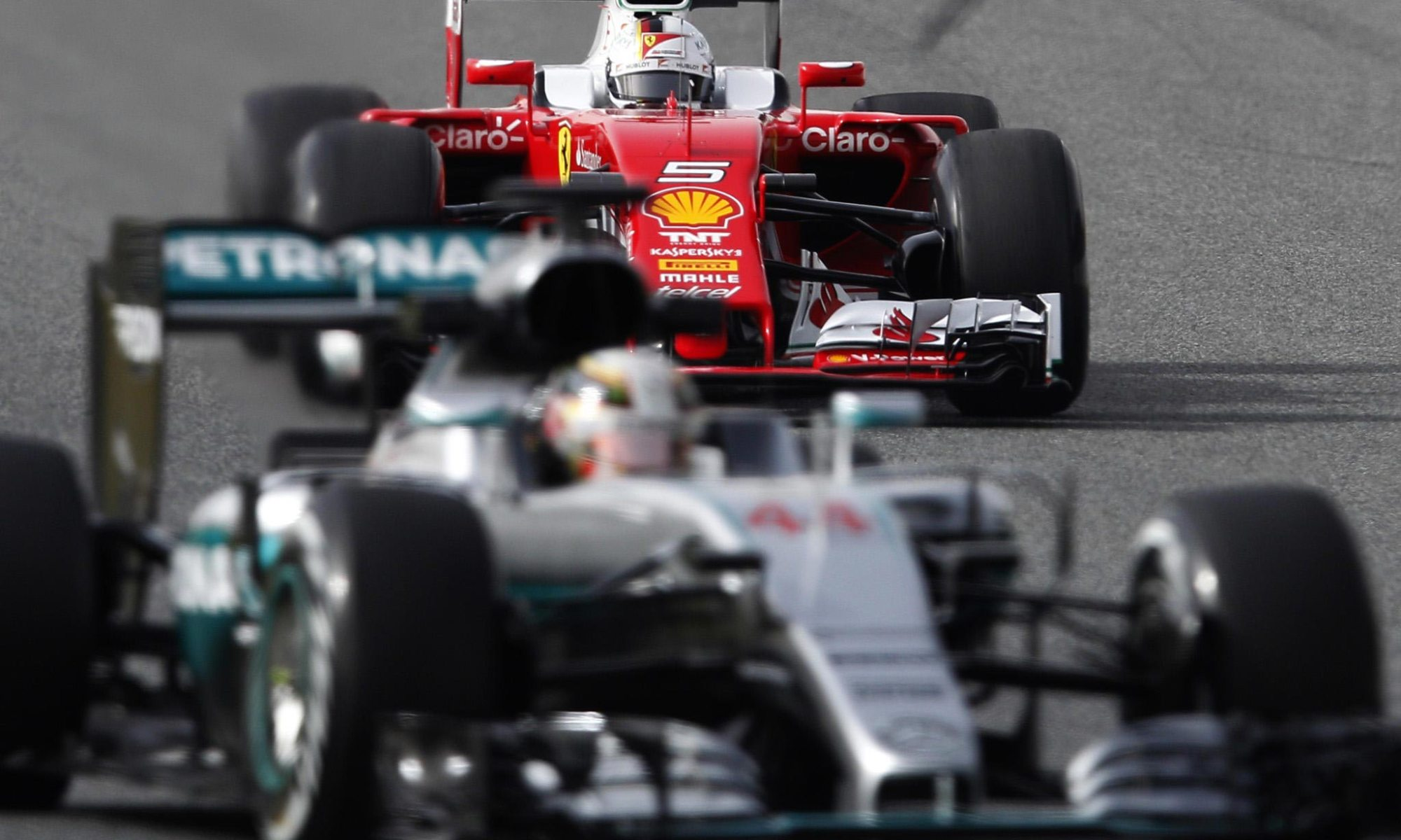 Hamilton, Mercedes & Vettel, Ferrari