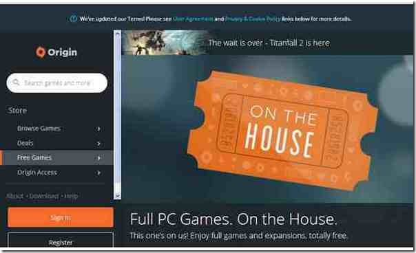 Origin On The House  jeux premium gratuitement