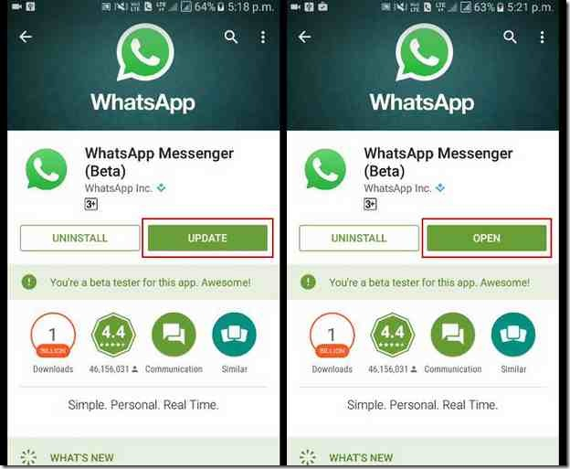 passer  appel video whatsapp