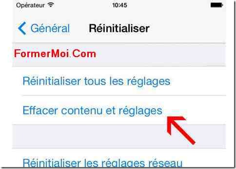 reinitialiser iphone sans itunes