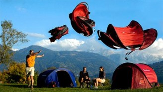 Quecha tent takes form due to strain energy of poles much like a bow [1]