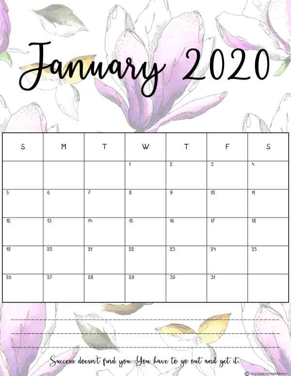 Printable Calendar 2020 In Beautiful Floral Designs 1